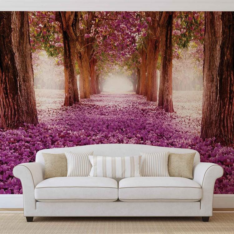 Flowers Tree Path Pink Valokuvatapetti