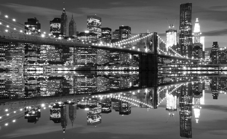 New York City Skyline Brooklyn Bridge Valokuvatapetti