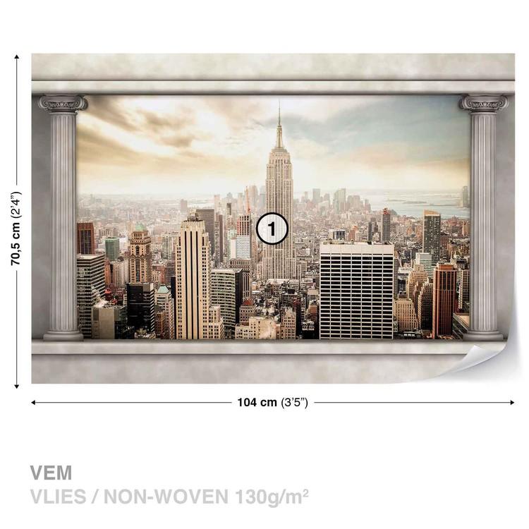New York City View Pillars Valokuvatapetti