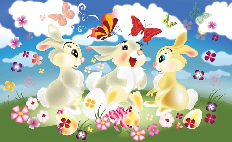 Rabbit Bunny Butterflies Flowers Valokuvatapetti