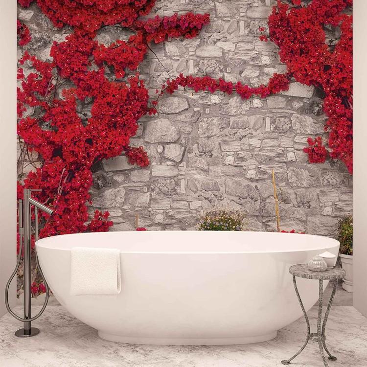 Kuvatapetti, TapettijulisteRed Flowers Stone Wall
