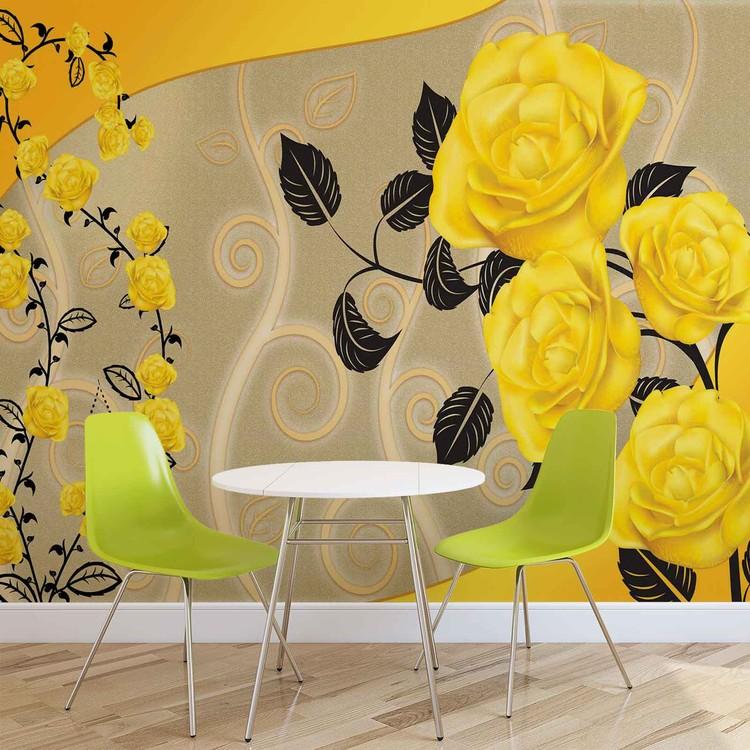 Roses Yellow Flowers Abstract Valokuvatapetti