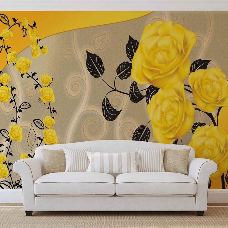 Kuvatapetti, TapettijulisteRoses Yellow Flowers Abstract