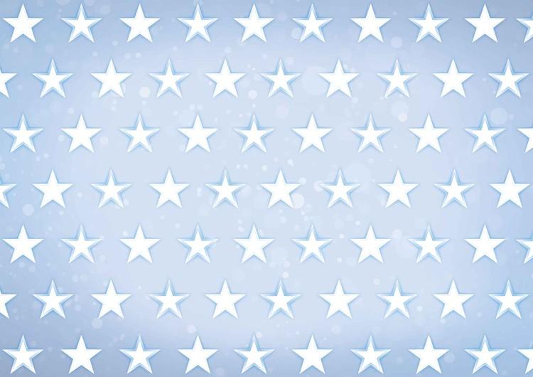 Stars Pattern Blue Valokuvatapetti