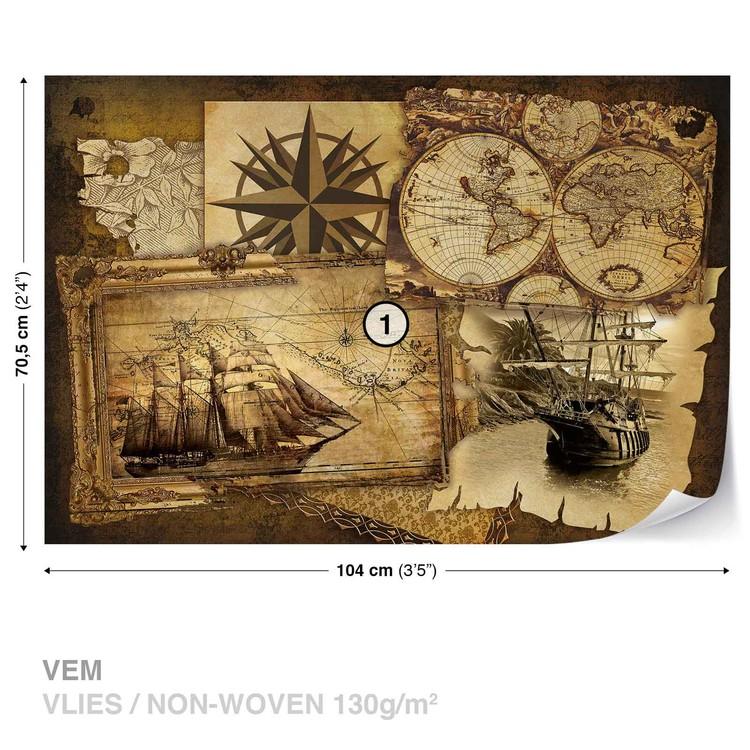 Vintage Ships and Maps Valokuvatapetti
