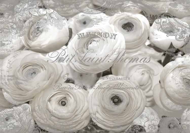 White Roses Vintage Effect Valokuvatapetti
