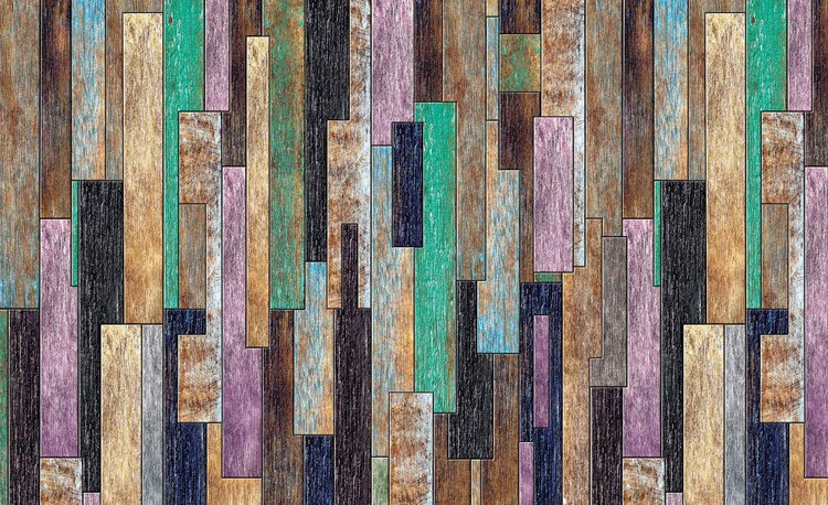 Wood Planks Painted Rustic Valokuvatapetti