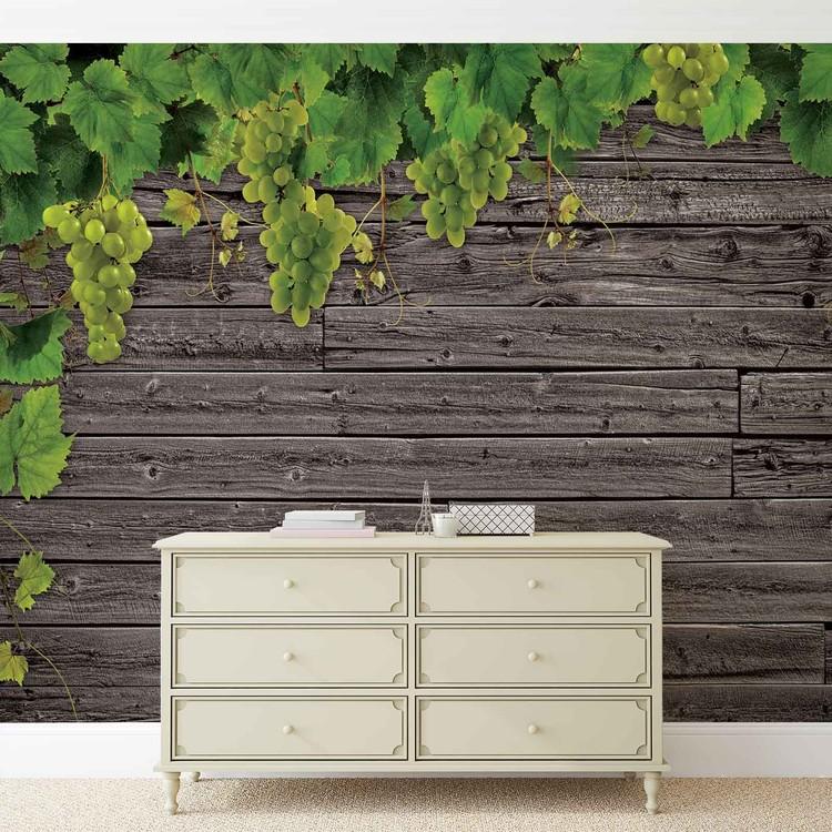 Wooden Wall Grapes Valokuvatapetti