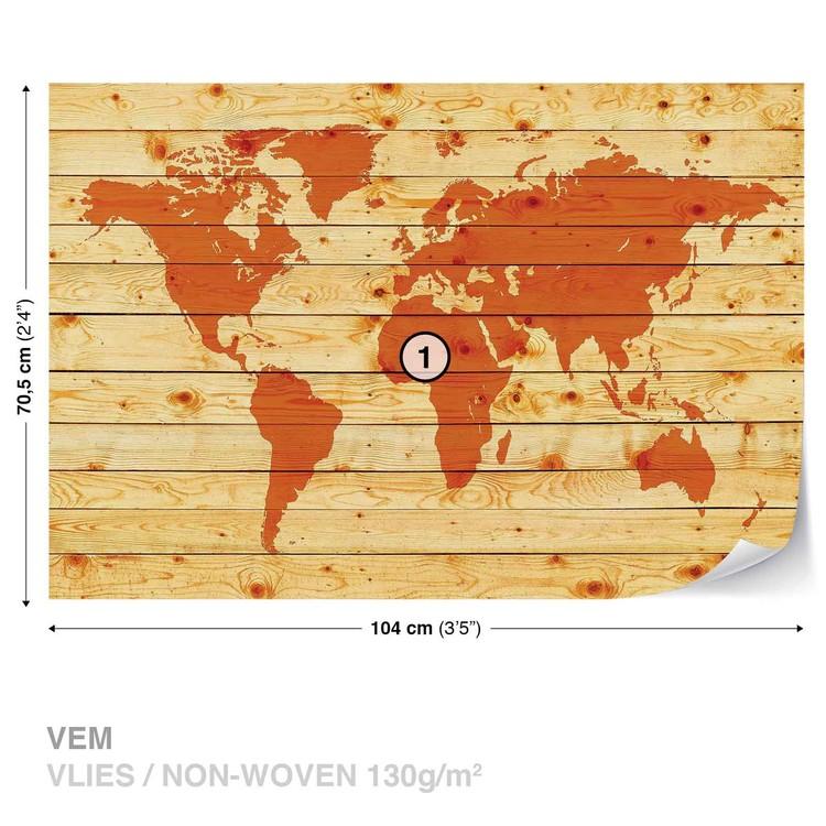 World Map Wood Planks Valokuvatapetti