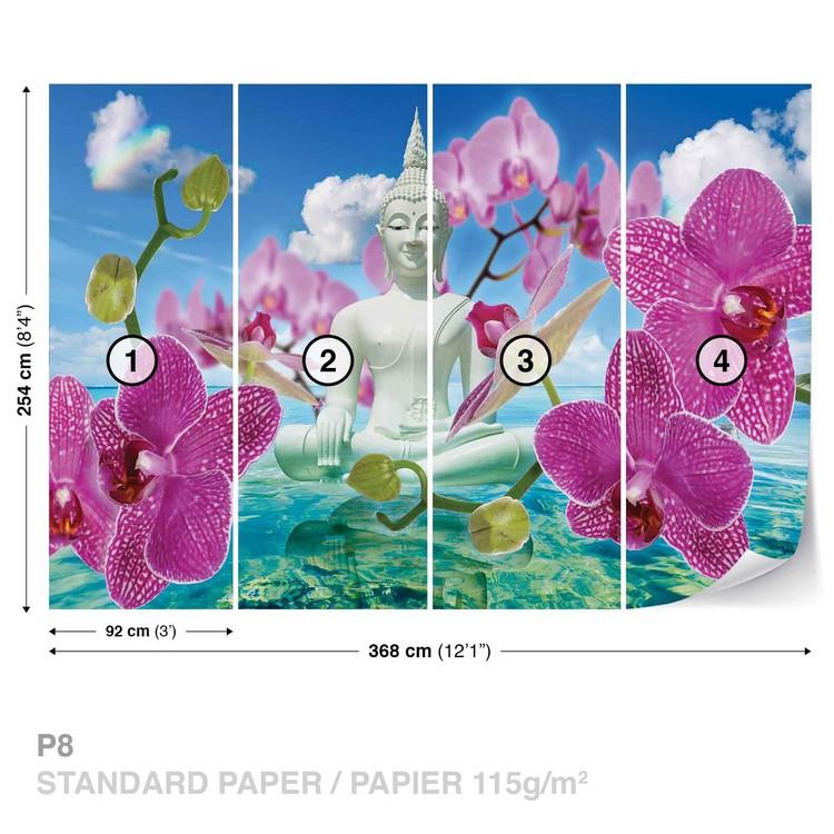 Zen Flowers Orchids Buddha Water Sky Valokuvatapetti