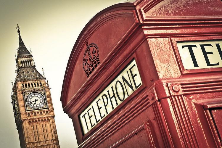 Lasitaulu London - Big Ben and Red Telephone Box