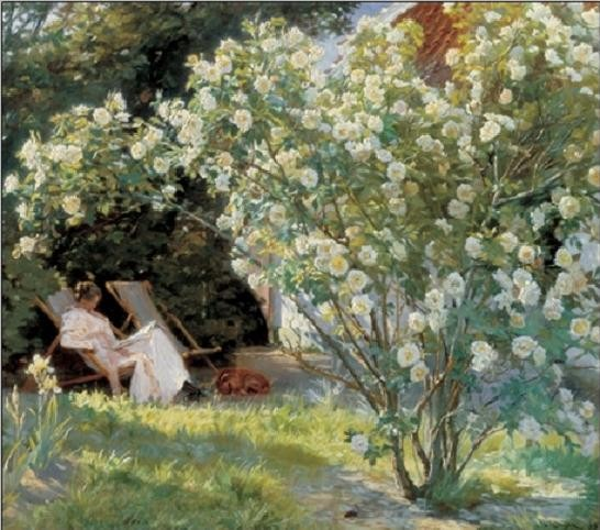 Marie in the Garden (The Roses) Reproduction d'art