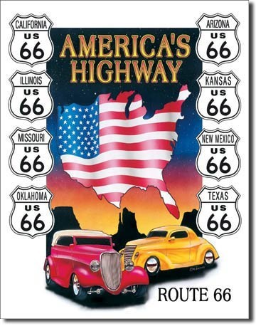Metal sign AMERICAS HIGHWAY
