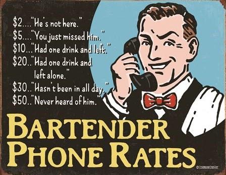 Metal sign Bartender's Phone Rates