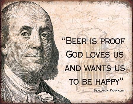 Metal sign Ben Franklin - Beer