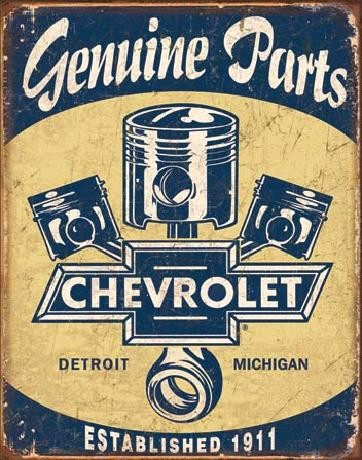 Metal sign CHEVY PARTS - Chevrolet Pistons