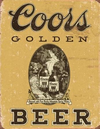 Metal sign Coors - Golden Beer