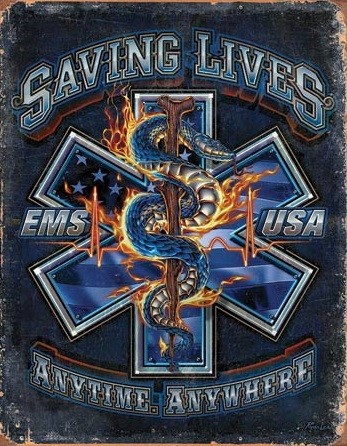 Metal sign EMS - Saving Lives