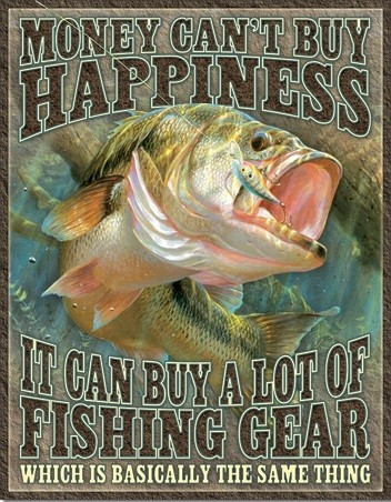 Metal sign Fishing Happiness