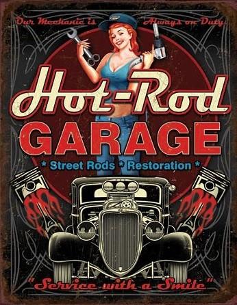 Metal sign Hot Rod Garage - Pistons