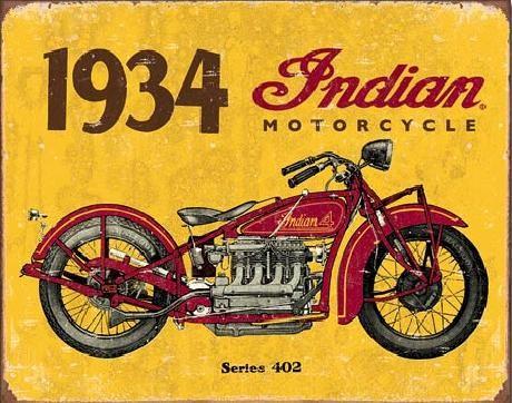 Metal sign INDIAN MOTORCYCLES - 1934