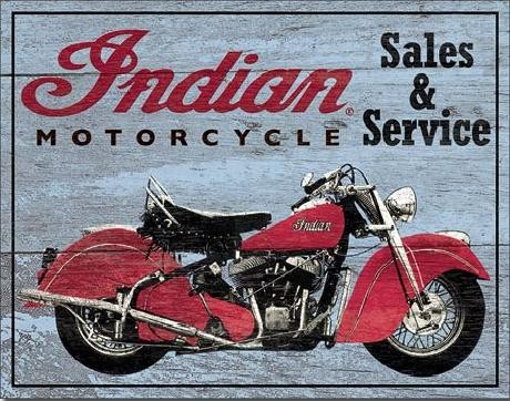 Metal sign INDIAN MOTORCYCLES - Parts and Service