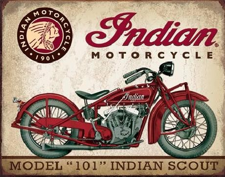 Metal sign INDIAN MOTORCYCLES - Scout Model 101