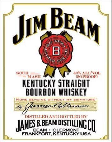 Metal sign JIM BEAM - white label