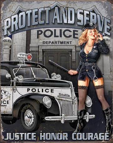 Metal sign POLICE DEPT - protect & serve