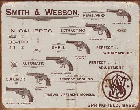 Metal sign S&W - revolvers