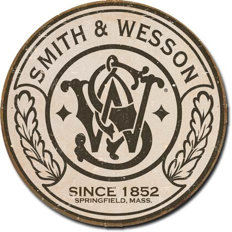 Metal sign S&W - round