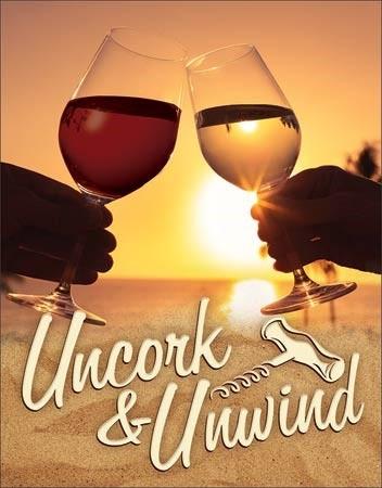 Metal sign Uncork & Unwind