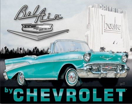 1957 Chevy Bel Air Metal Sign