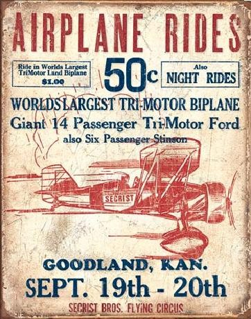 AIRPLANE - Secrist Flying Circus Metal Sign