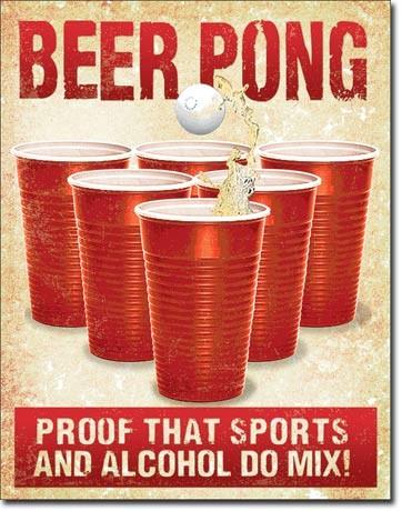 Beer Pong Metal Sign