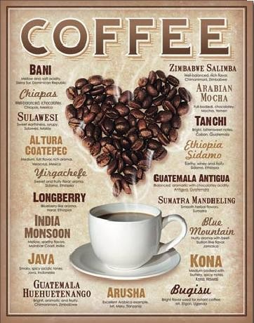 COFFEE - Heart Metal Sign