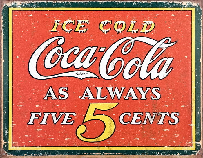 coke vintage 5 cents tin signs metal signs sold at abposters com