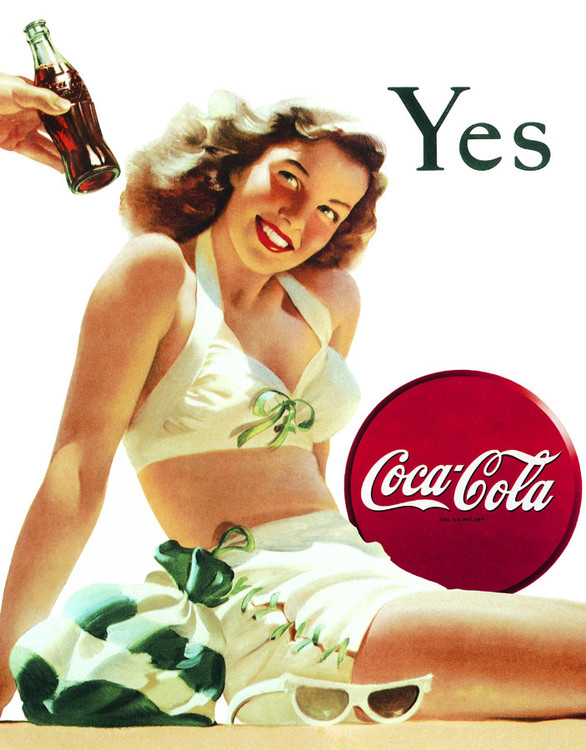 COKE YES... WHITE SUIT Metal Sign