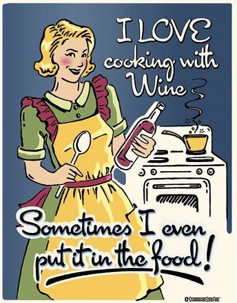 Cooking with Wine Metal Sign