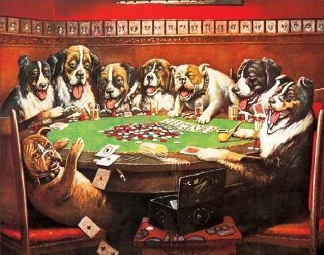 DRUKEN DOGS PLAYING CARDS Metal Sign