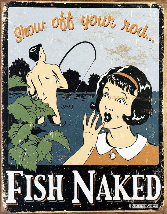 FISH NAKED Metal Sign
