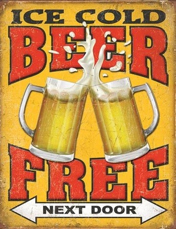 Free Beer - Next Door Metal Sign