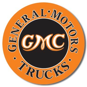 GMC Trucks Round Metal Sign