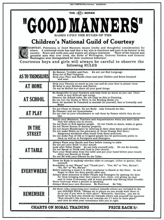 GOOD MANNERS Metal Sign