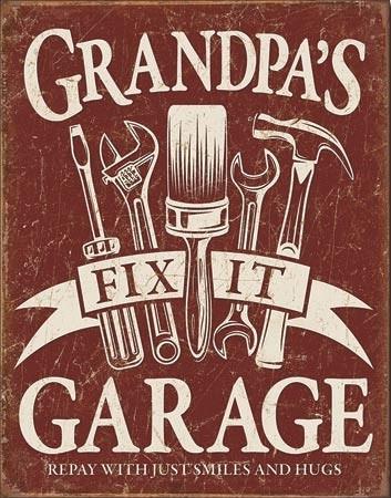 Grandpa's Garage Metal Sign