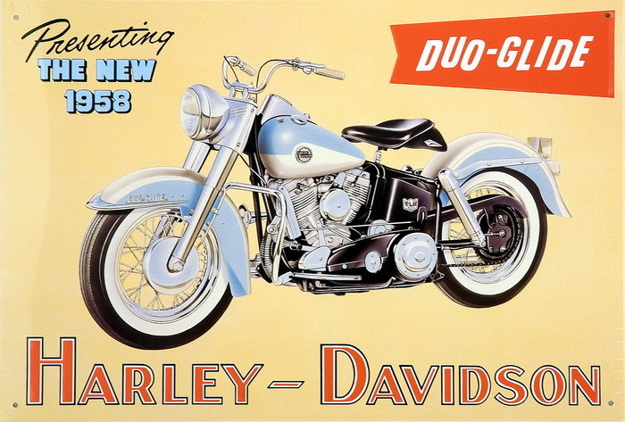 HARLEY DAVIDSON - duo glide Metal Sign