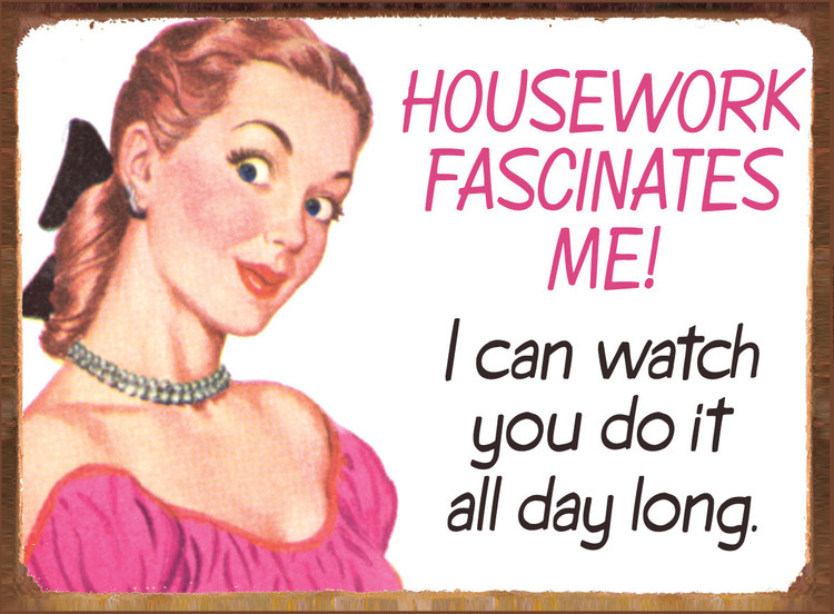HOUSEWORK FASCINATES ME Metal Sign