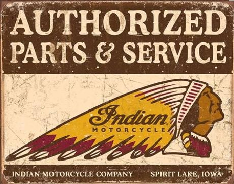 Metal sign Indian motorcycles - Authorized Parts and Service