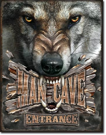 Man Cave Wolf Metal Sign
