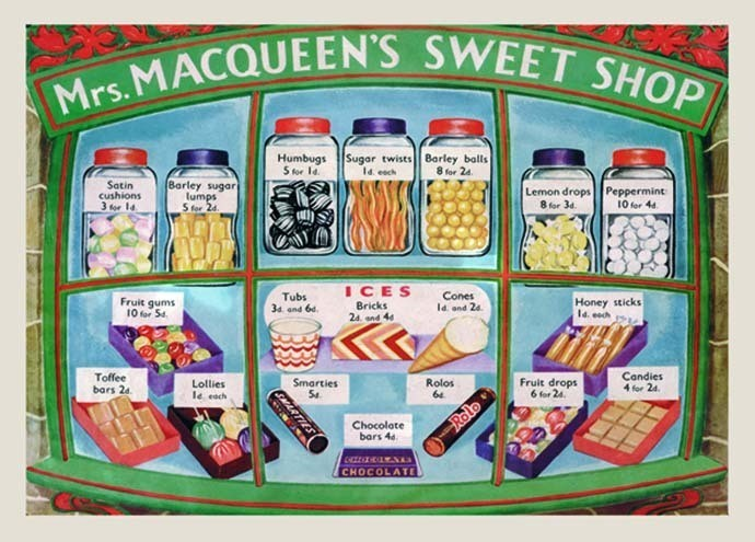 Mrs. MACQUEEN'S SWEET SHOP Metal Sign